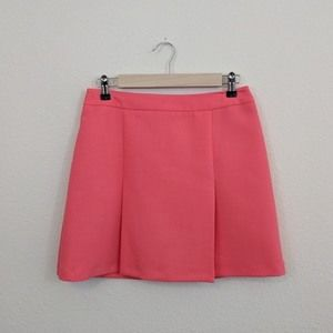 TopShop Coral A-line Pleated Mini Skirt
